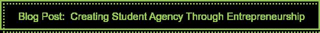 Blog Post: Creating Student Agency Through Entrepreneurship