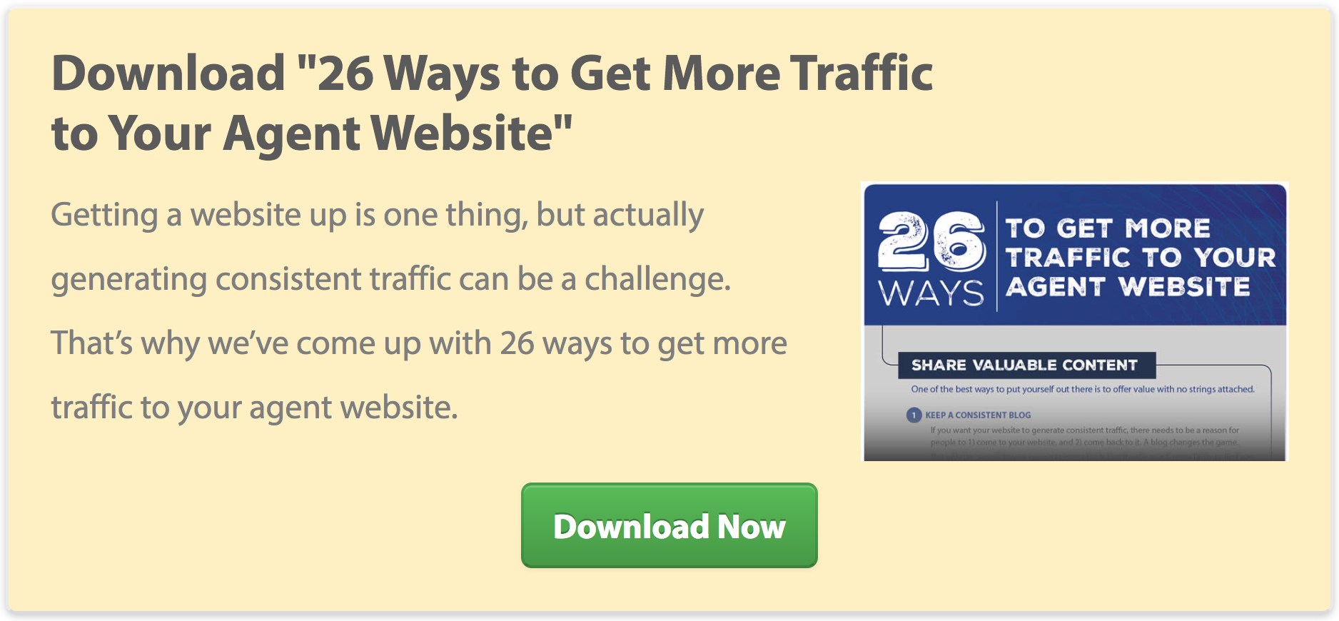"Download ""26 Ways to Get More Traffic to Your Agent Website"""