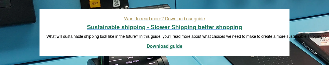 Want to read more? Download our guide Sustainable shipping - Slower Shipping better shopping What will sustainable shipping look like in the future? In this guide, you'll read more about what choices we need to make to create a more sustainable shipping for the future.  Download guide