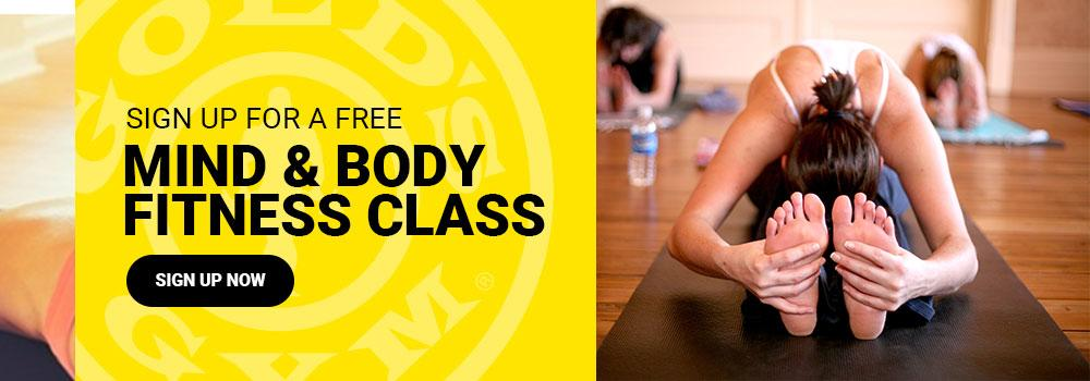 Free mind & body fitness class at golds gym northwest