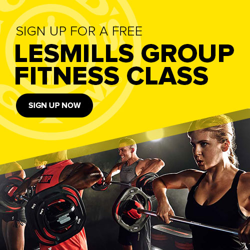 Sign up for a free lesmills group fitness class at golds gym.