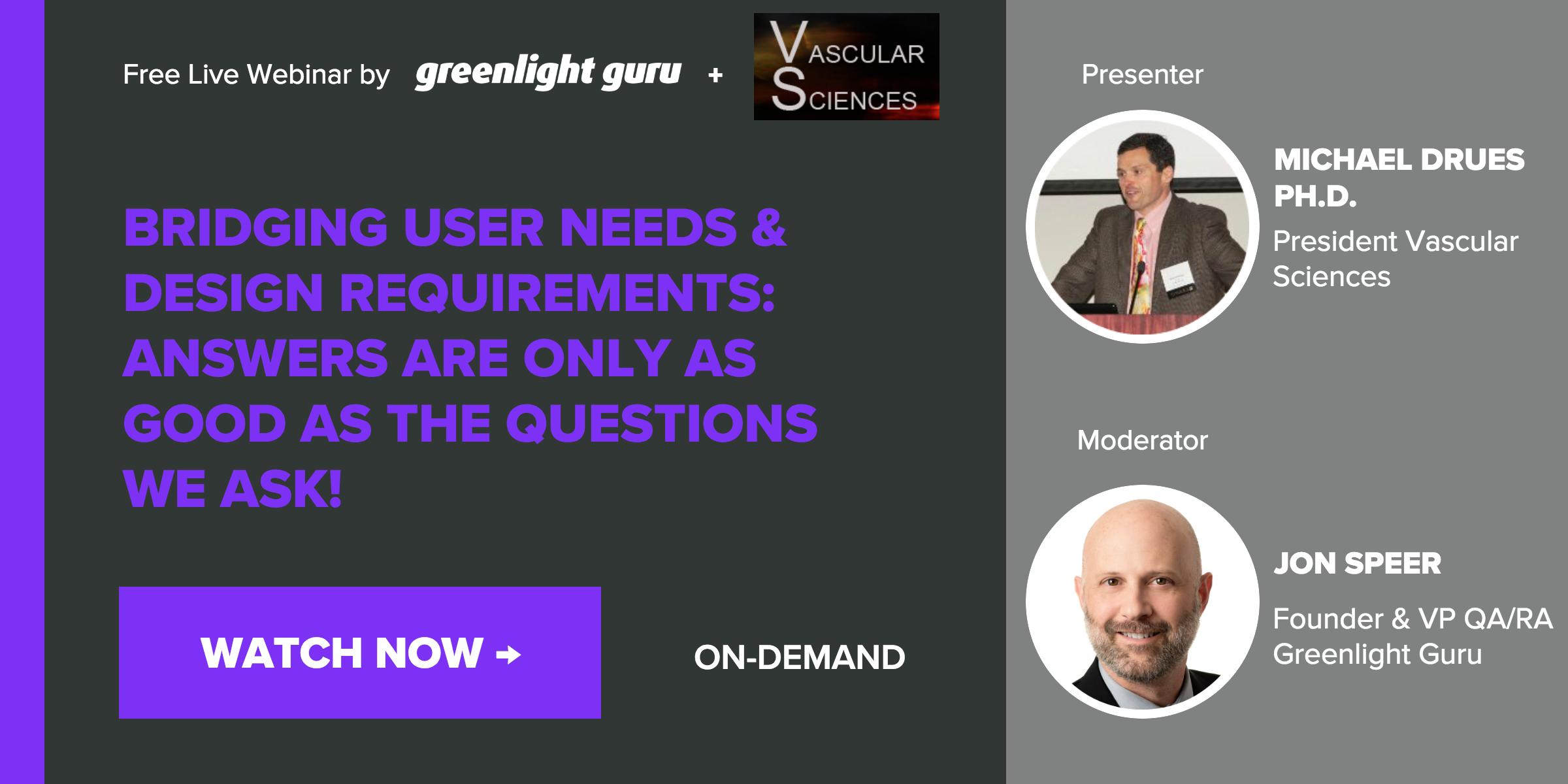 User needs and design requirements webinar