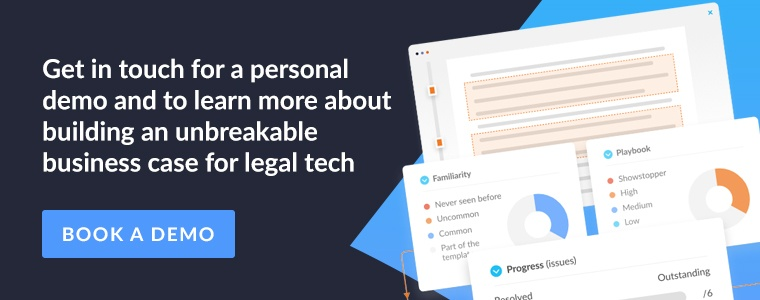 Get in touch for a personal demo and to learn more about building an unbreakable business case for legal tech. Book a demo.