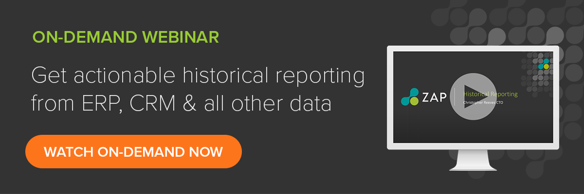 Get actionable historical reporting from your ERP, CRM and all other data sources