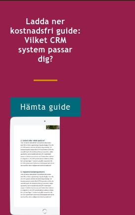 Ladda ner kostnadsfri guide: Vilket CRM system passar dig? Hämta guide <http://info.stretch.se/se-guide-vilket-crm-passar-dig>