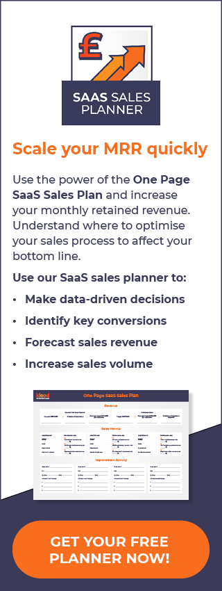 The One Page SaaS Sales Planner