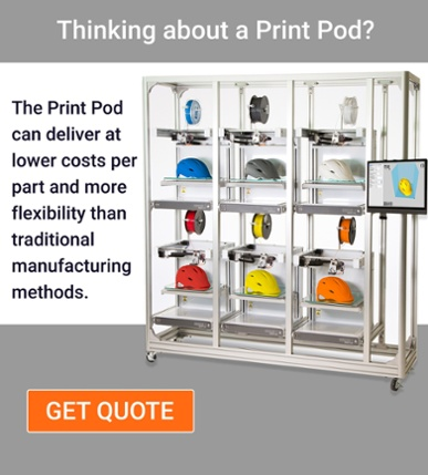 The Print Pod can deliver at lower costs per part and more flexibilty than traditional manufacturing methods, such as injection molding.