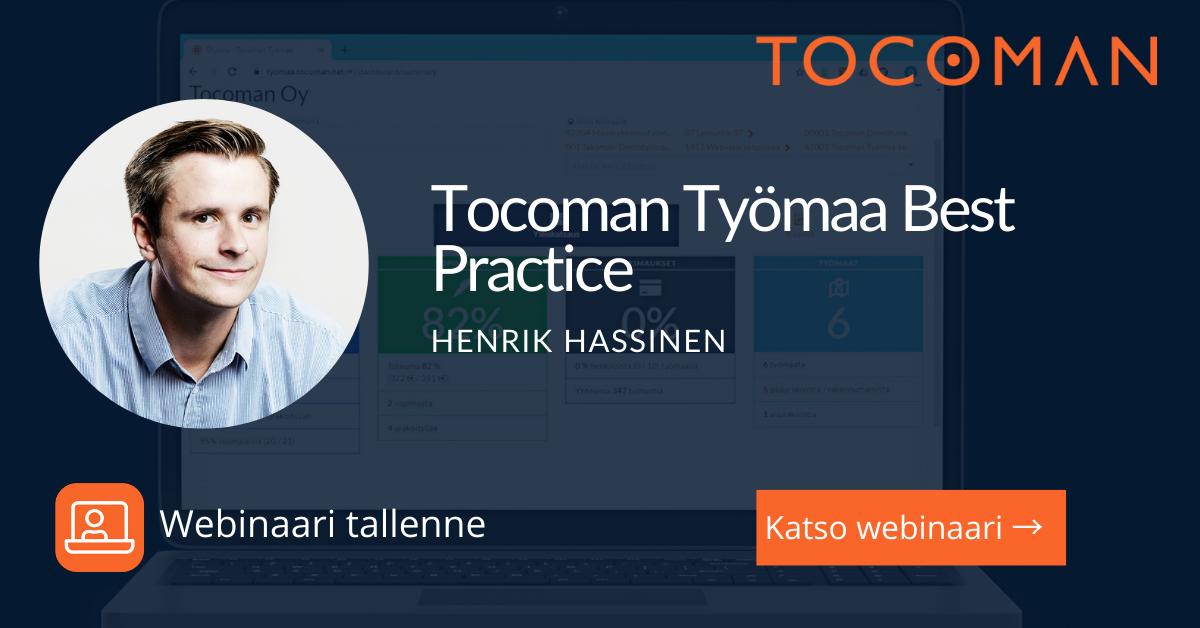 Tocoman Työmaa Best Practice webinaari