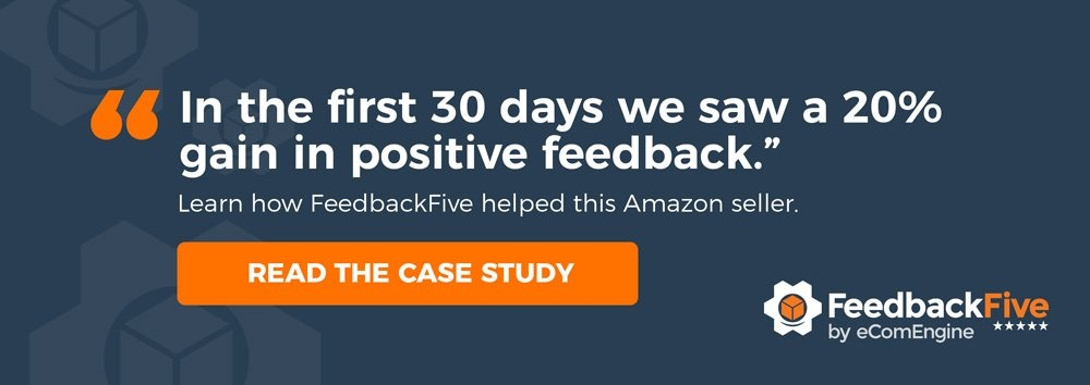"FeedbackFive logo with text, ""In the first thirty days we saw a twenty percent gain in positive feedback"""