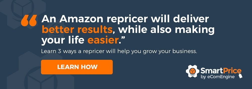 "SmartPrice logo with text, ""An Amazon repricer will deliver better results, while also making your life easier"""