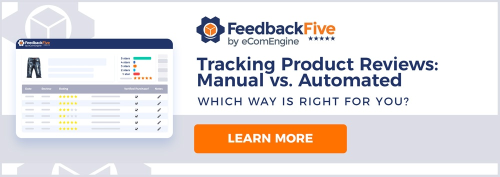 "ASIN review tracking view in FeedbackFive with text, ""Tracking product reviews: manual vs. automated"""