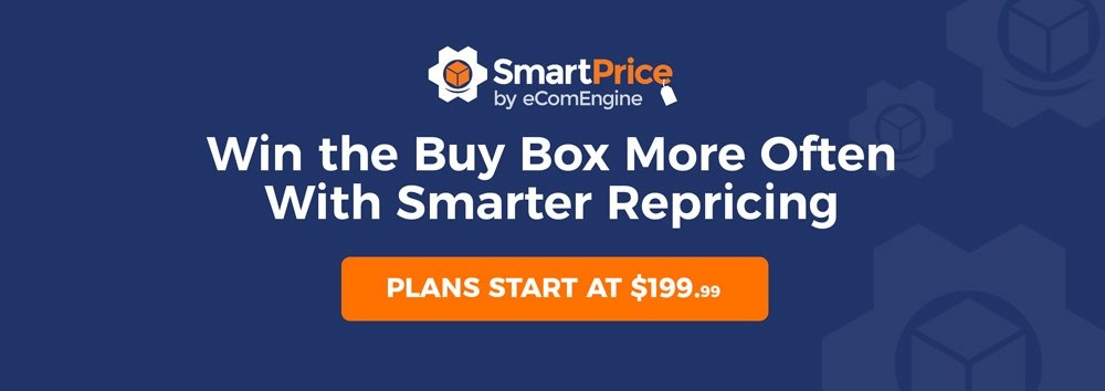 """SmartPrice logo with text, """"Win the buy box more often with smarter repricing"""""""