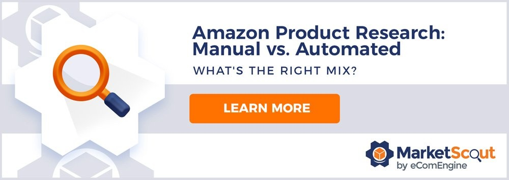 "Orange and blue magnifying glass with text, ""Amazon product research: manual vs. automated"""