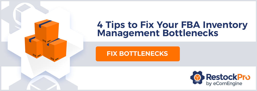 "Stack of three orange shipping boxes with text, ""Four tips to fix your FBA inventory management bottlenecks"""