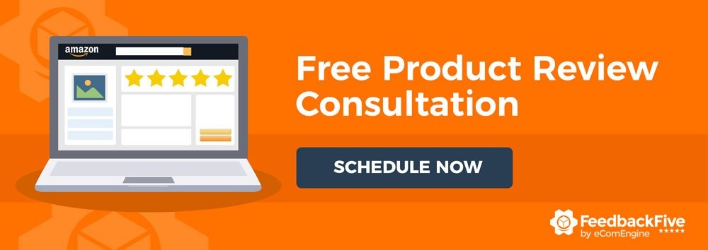 """An image of Amazon customer reviews and text, """"Free Product Review Consultation. Schedule Now."""""""