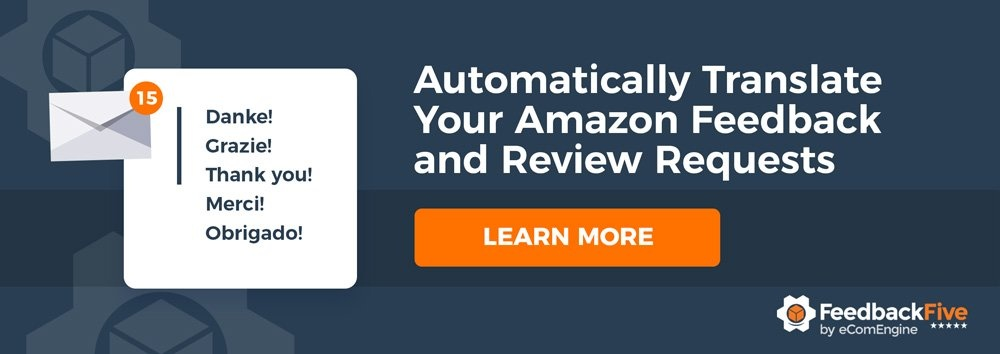 """FeedbackFive logo with text, """"Automatically translate your Amazon feedback and review requests"""""""