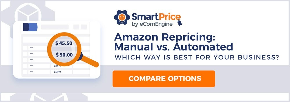 "Repricing page beneath a magnifying glass with text, ""Amazon repricing: manual vs. automated"""