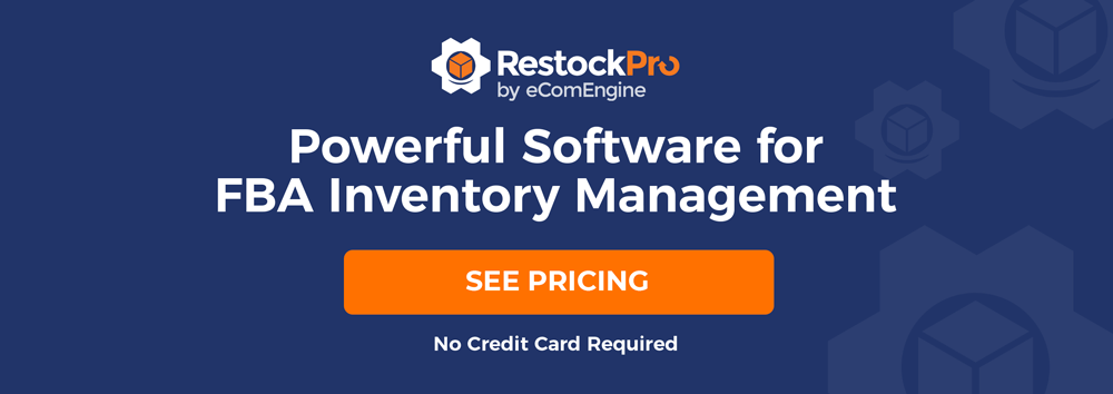"RestockPro logo with text, ""Powerful software for FBA inventory management. 21 day free trial. No credit card required."""