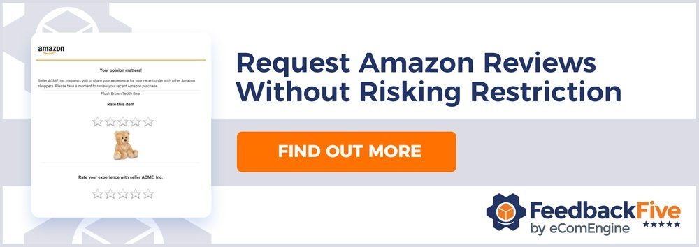 "Image of an Amazon review request email and FeedbackFive logo with text, ""Request Amazon reviews without risking restriction. Learn how."""