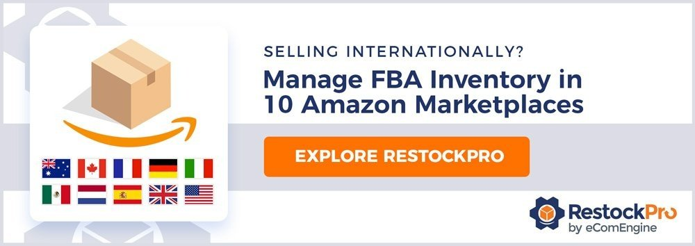 "RestockPro logo with text ""Selling internationally? Manage FBA inventory in 9 Amazon marketplaces."""