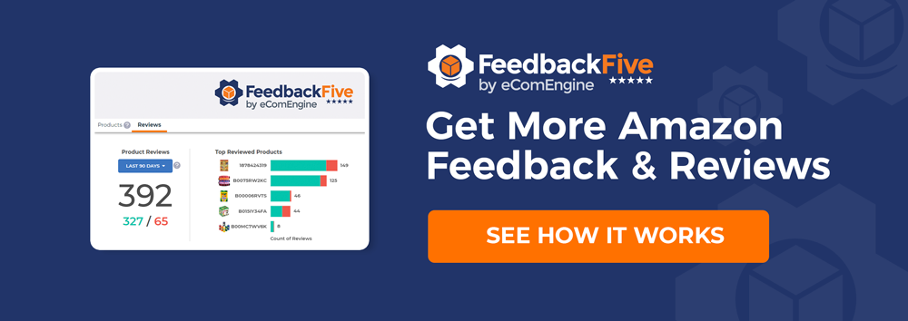 "FeedbackFive logo with text, ""Get more Amazon seller feedback and product reviews"""