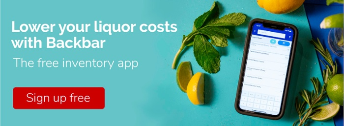 CTA Image with Backbar bar inventory app on iPhone surrounded by fresh herbs and citrus fruit