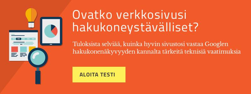 Testaa sivustosi hakukoneoptimointi