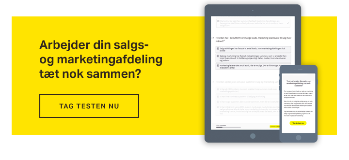 Smarketing - test salg og marketing samarbejde - tag testen