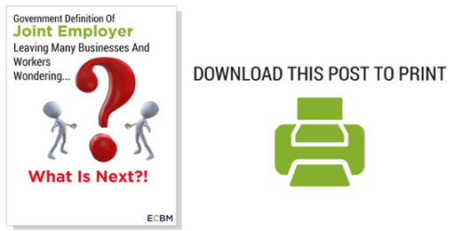 Download Print Friendly Version Joint Employer What Is Next