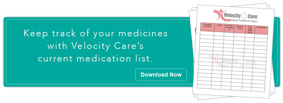 Keep track of the medicine you take with Velocity Care's checklist.
