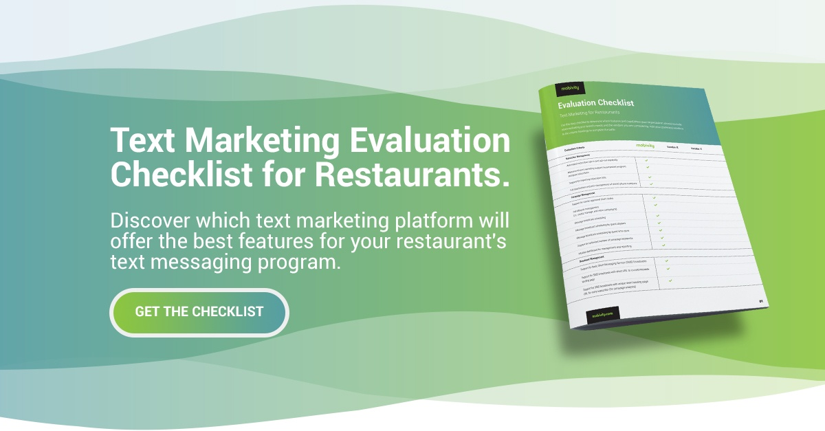 Get the Text Marketing Evaluation Checklist for Restaurants