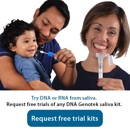 Request free trial kits of any DNA Genotek saliva kit