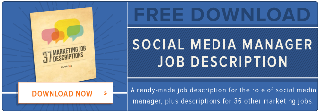 free social media manager job description