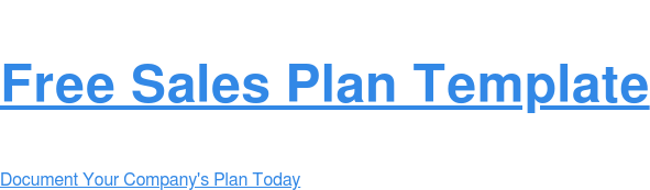 Free Sales Plan Template Document Your Company's Plan Today