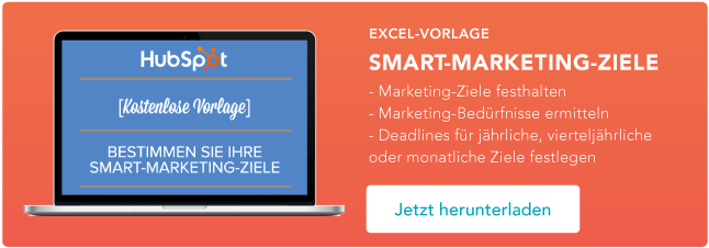 Excel Vorlage Smart Marketing Ziele herunterladen