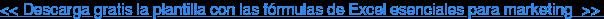 <<Descarga gratis la plantilla con las fórmulas de Excel esenciales para  marketing>>