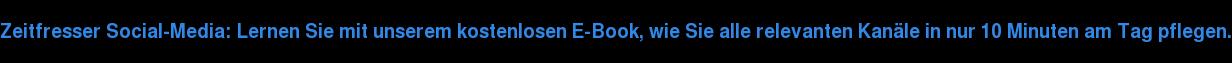 Zeitfresser Social-Media: Lernen Sie mit unserem kostenlosen E-Book, wie Sie  alle relevanten Kanäle in nur 10 Minuten am Tag pflegen.
