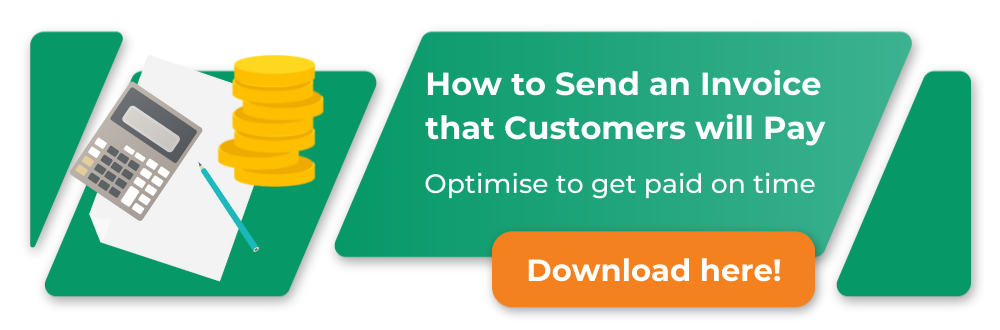 how to send and invoice that customers will pay, click to download; image of man smiling
