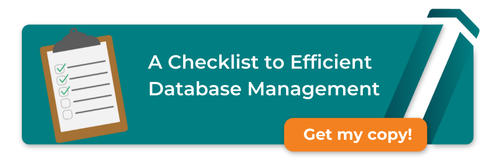 checklist with to do written on over a computer screen with a lightbulb and clock, with text a checklist to efficient database management, download here