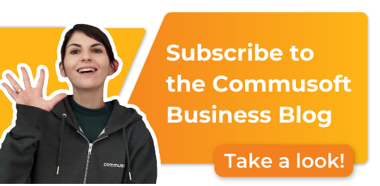 text: subscribe to the commusoft business blog by clicking here
