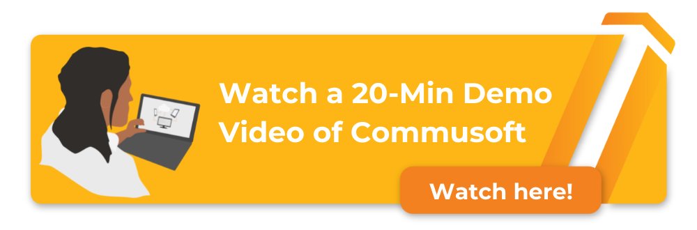 watch a 20 minute demo of commusoft in action, computer screen with demo video sample