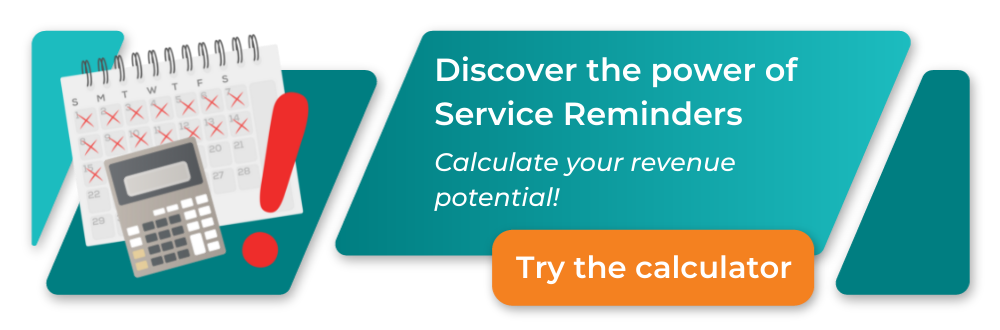calculate your potential revenue, image of laptop with a graph on it, money, and a calculator  - discover the power of service reminders, try it now