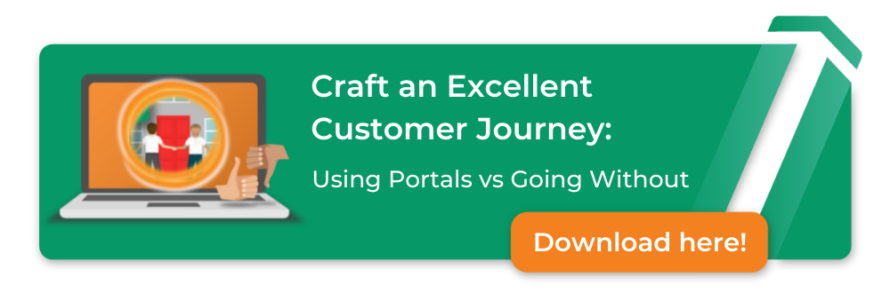 craft an excellent customer journey: using portals vs going without, download here. image of a laptop with a portal image where two people can be seen shaking hands