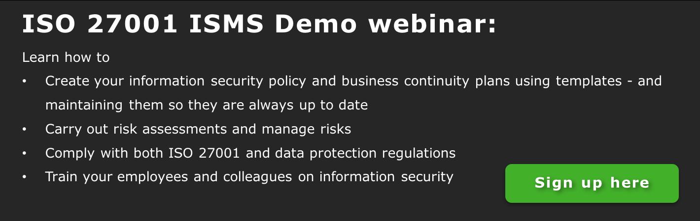 ISO 27001 ISMS demo webinar