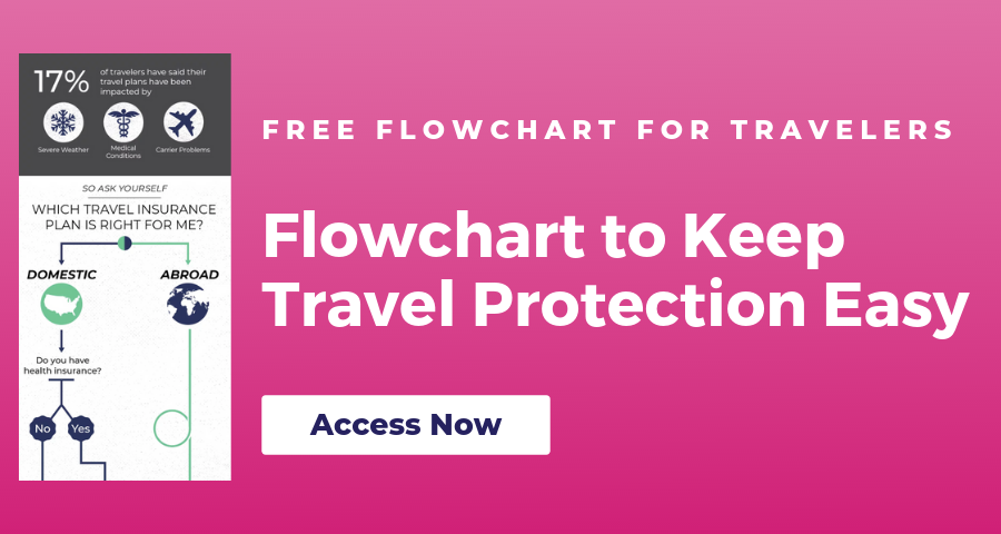 Fuschia colored background with a small image of a flowhart on it. Text reads: Free Flowchart For Travelers Flowchart to keep travel protection easy. Access Now.