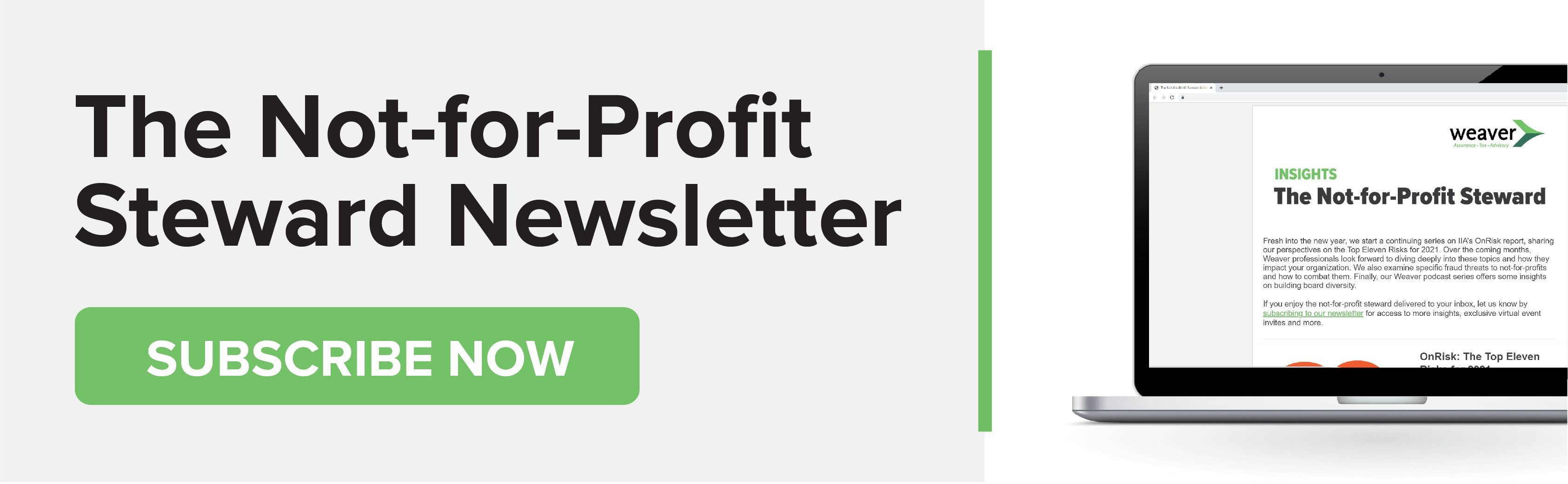 Subscribe now: The Not-for-Profit Steward Newsletter
