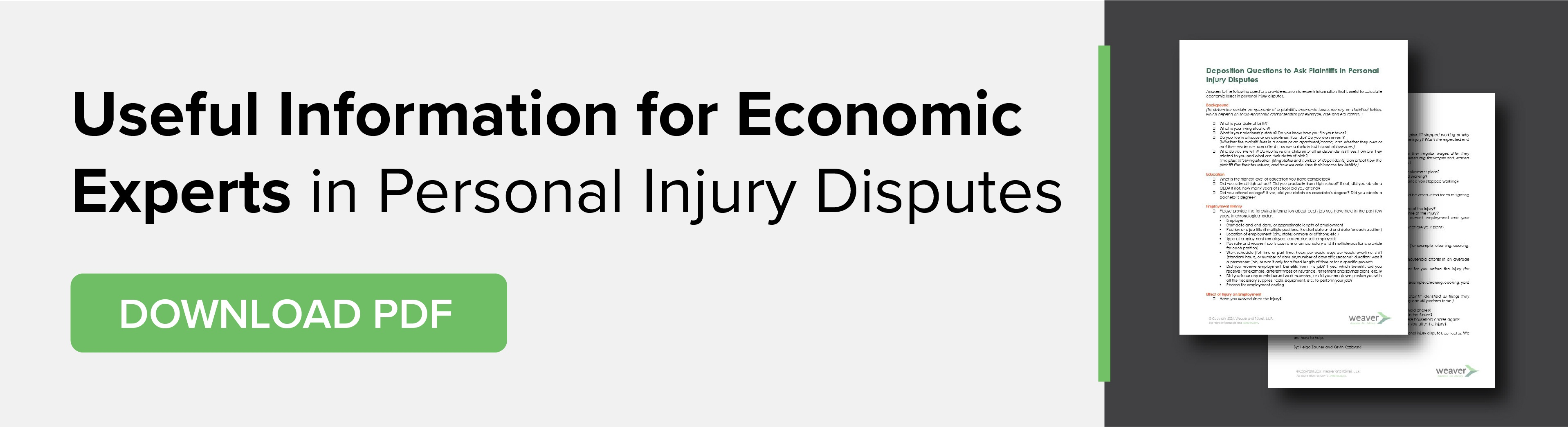 Useful Information for Economic Experts in Personal Injury Disputes Download PDF