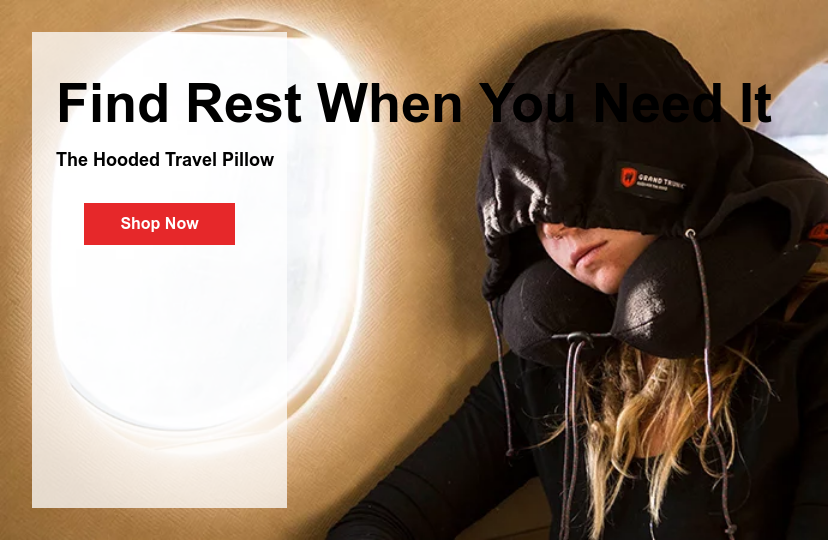 Find Rest When You Need It  The Hooded Travel Pillow Shop Now