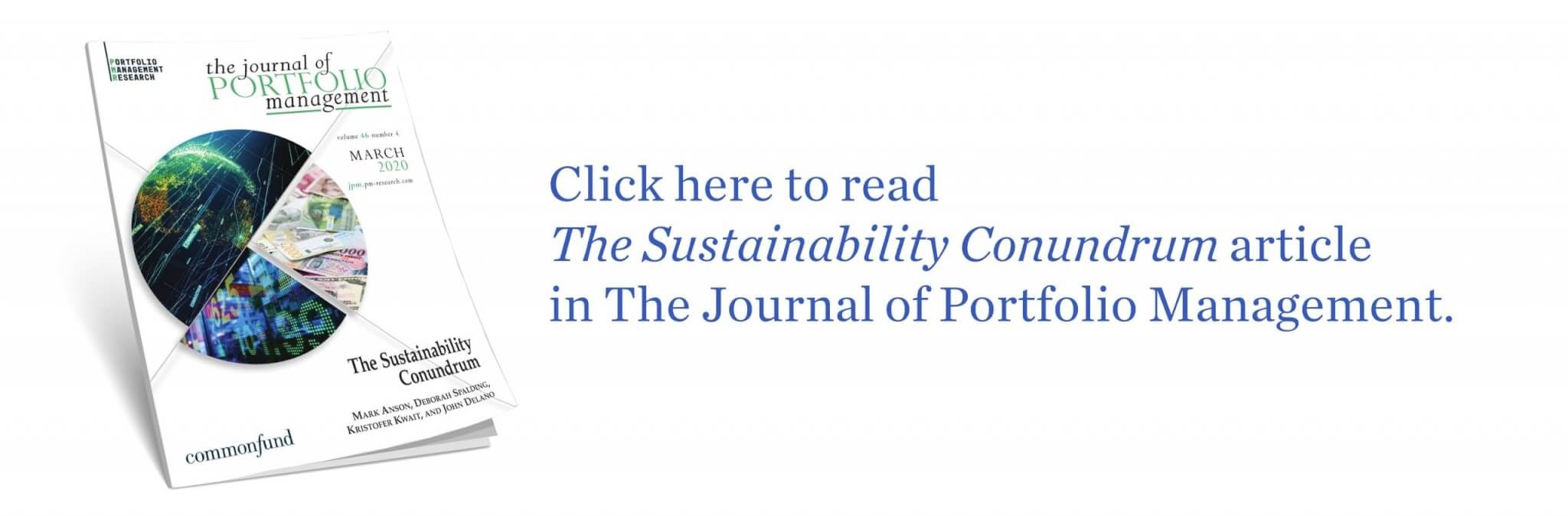 Download the Sustainability Conundrum article published in the Journal of Portfolio Management
