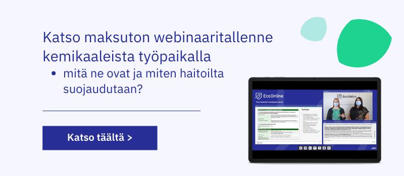Maksuton webinaaritallenne: Kemikaalit työpaikalla